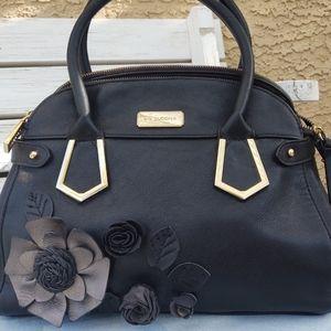 Big Buddha Black Floral Dome Satchel Handbag